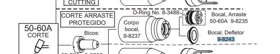 Bocal Defletor 20-120A Corte Plasma Cutmaster - 9-8243-2